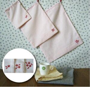 クロスステッチ刺繍入り巾着袋3枚セットレッド 小花