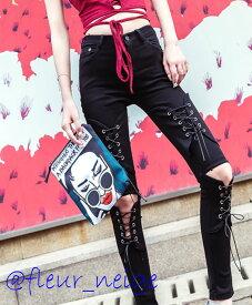 レディース パンツ ボトム ダンス 衣装 ヒップホップ レースアップ ストレッチ デザイン ペンシルパンツ ハイウエスト 包帯パンツ カジュアル パンク ロック ファッション ヴィジュアル系