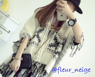 Knit poncho Lady's knit poncho mantle outer coat black and white S M L LL big size poncho ethnic winter autumn Ortega half-length sleeves adjustable size fashion lei yard cardigan in the fall and winter