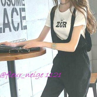 Set tops bottoms cropped length black black with the all-in-one salopette pants Lady's t shirt