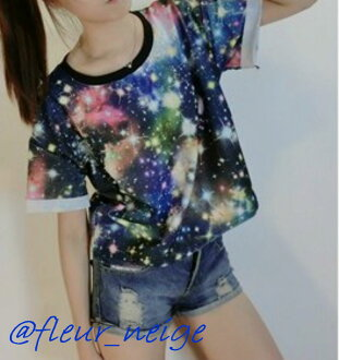 Dance clothes hip-hop Lady's space pattern showy whole pattern space event Cosmo neon individuality Harajuku dance bureauware galaxy HIPHOP man and woman combined use is unisex