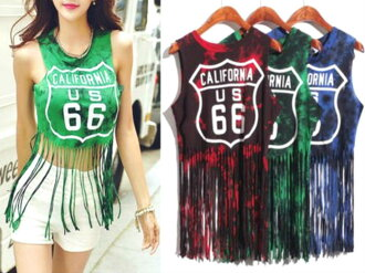 ★1,780 yen ⇒ 980 yen ★ dance clothes hip-hop tank top Lady's tops fringe stage clothes stage stage costume t shirt girls bureau clothes tank immediate delivery cut tie-dyeing fitness kids dance jazz cut-and-sew for a limited time