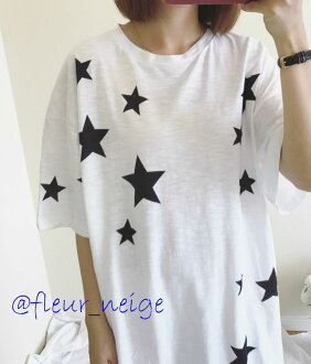 The lady BIG star print patterned stars T-shirt tunic adult feminine which femininity adult girl sexy Gurley having a cute the size BIG star print patterned stars ゆる kava tunic adult feminine which T-shirt Lady's has a big has a big