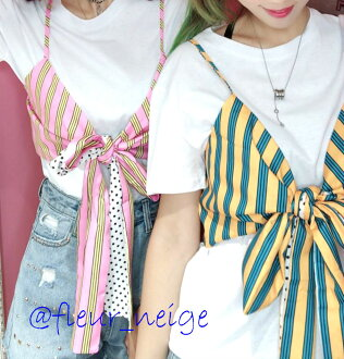 Bustier tops Lady's layering camisole stripe ribbon cute summer clothes spring clothes casual camisole lei yard short length sexy is pretty in the spring and summer