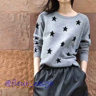It is きれいめ daily date American casual unisex in the lady's knit tops patterned stars loose long sleeves thin sweater gray black star pattern casual clothes lovely mature simple gray black monotone round neckline early spring in the fall and winter