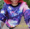 Long sleeves tops round neck crew neck pullover print yoga wear of lady's t shirt cut dance clothes hip-hop galaxy space pattern Harajuku origin