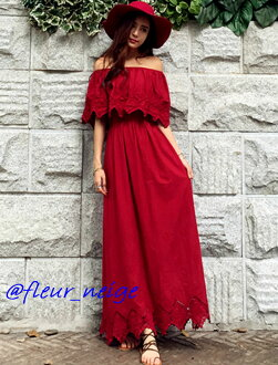 Dress Lady's off shoulder red white yellow resort beach coordinates base-up top one shoulder crew neck 4way