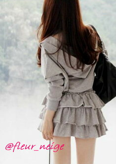 Dress Lady's parka parka frill long sleeves zip up long long length spring and summer winter parka dress cut tops Gurley dress Lady's parka parka frill on the small side in the fall and winter