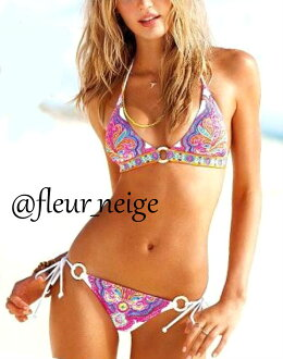 Swimsuit Lady's bikini sexy ethnic vivid neon color separate bikini swimsuit Lady's ethnic style oriental floral design ビーチスイムウェアーホルターネックアジアンペイズリー