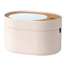IKEA イケア SAXBORGA 収納ボックス ミラーのふた付き プラスチック コルク n00394016