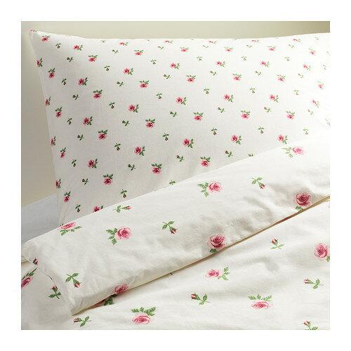 IKEA(イケア) EMELINA KNOPP 掛け布団カバー&枕カバー ホワイト ピンク 10198543