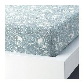 IKEA イケア ボックスシーツ ホワイト ブルー クイーンサイズ z10409994 JATTEVALLMO