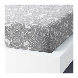 IKEA イケア ボックスシーツ ホワイト グレー クイーンサイズ z80410263 JATTEVALLMO