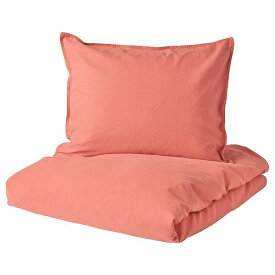 IKEA イケア 掛け布団カバー&枕カバー ライトブラウンレッド 赤 シングル 150x200cm n50443552 ANGSLILJA エングスリリア