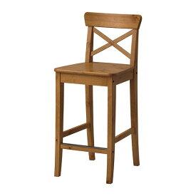IKEA イケア INGOLF バースツール 背もたれ付き アンティークステインv z90362742