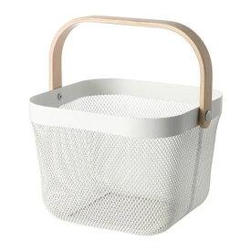 IKEA イケア バスケット かご ホワイト 白 25x26x18cm n60480544 RISATORP