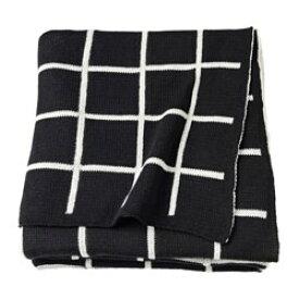 IKEA イケア ALMALIE ひざ掛け ブラック ホワイト z90352253