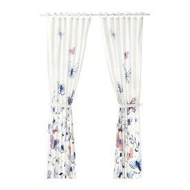 IKEA イケア カーテン 長さ250cm×幅120cm タッセル付き 1組 バタフライ ホワイト 白 ブルー 青 n30427020 SANGLARKA