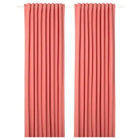 IKEA イケア カーテン 1組 145x250cm ライトブラウンレッド 赤 n30443685 MERETE
