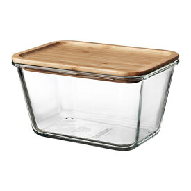 IKEA イケア 保存容器 ふた付き 長方形 ガラス 竹 1.8L z29269069 IKEA 365+