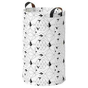 IKEA イケア ランドリーバッグ 60L ホワイト ブラック n40453136 PLUMSA