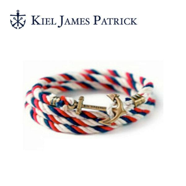 即日発送 キールジェイムスパトリック KIEL JAMES PATRICK ロープ ブレスレット Lanyard Hitch Collection RD/WHT/NVY LH-898-601