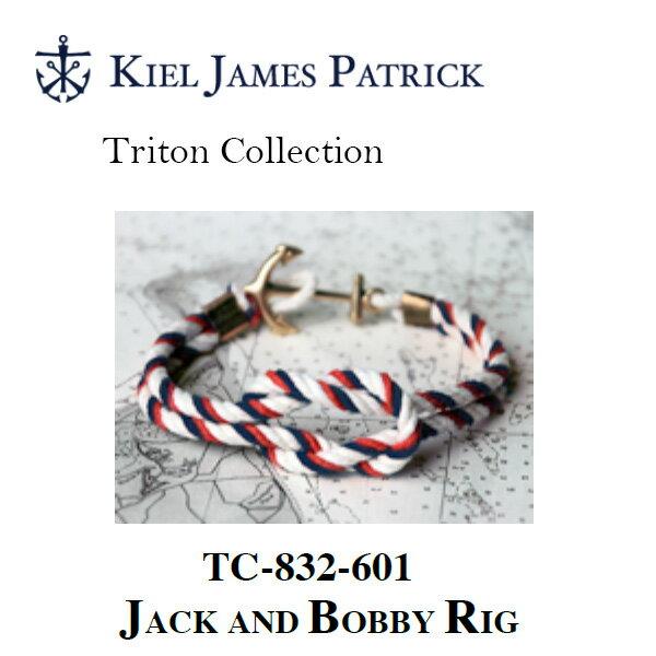 即日発送 キールジェイムスパトリック KIEL JAMES PATRICK ロープ ブレスレット Triton Collection RD/WHT/NVY TC-832-601