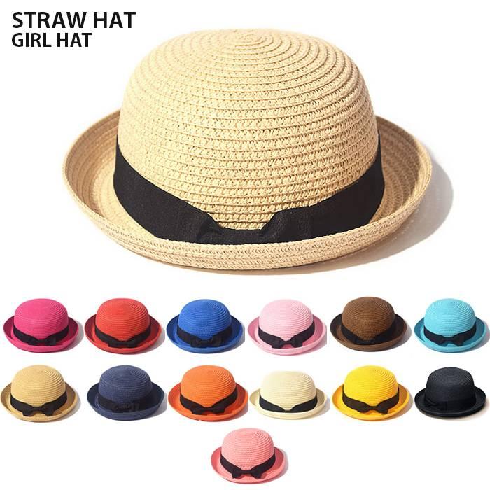 麦わら帽子 オシャレ 折りたたみ たためる カンカン帽 キッズ ストローハット 子ども 子供 女の子 新作 UV 夏