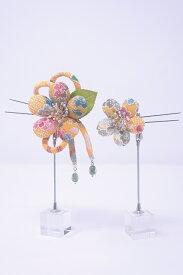 【送料無料】日本製 クラレナの 辛子色 黄色 花 髪飾り2点セット(髪飾り209)(新品)【和装】【小物】