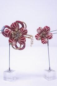 【送料無料】日本製 クラレナの 赤白 梅 髪飾り2点セット(髪飾り212)(新品)【和装】【小物】