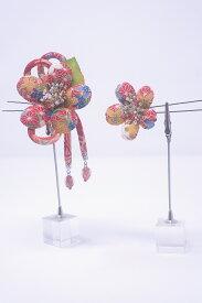 【送料無料】日本製 クラレナの 赤 花 髪飾り2点セット(髪飾り213)(新品)【和装】【小物】
