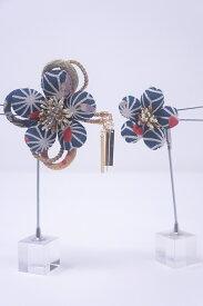 【送料無料】日本製 クラレナの 紺 白 花 髪飾り2点セット(髪飾り214)(新品)【和装】【小物】