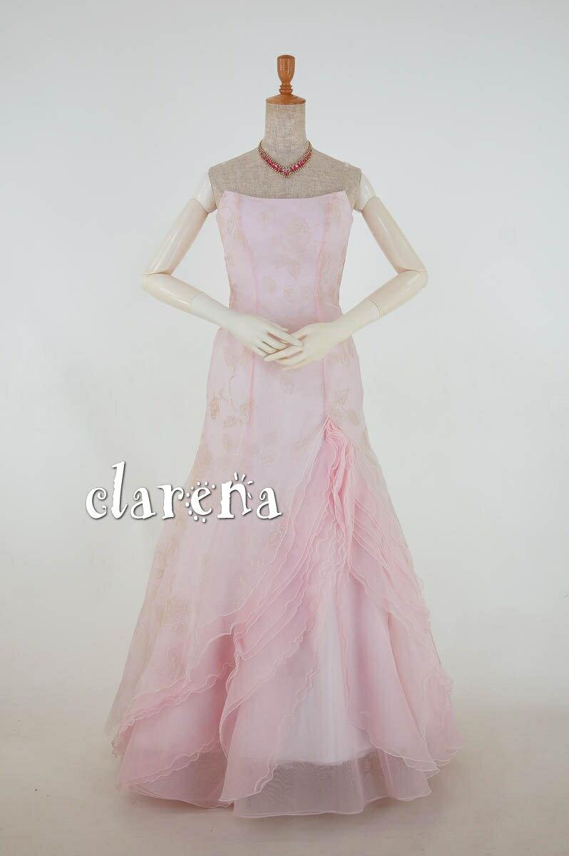 送料無料 裾上げ加工済み ベビーピンクに白のラメ薔薇カラードレス 9号(CLC3664)(USED品)(リサイクル)【中古】