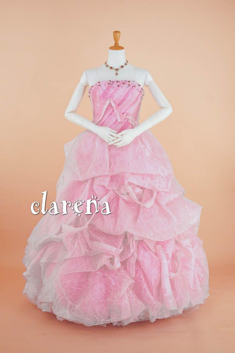 [送料無料] ステージ衣装ピンクにリボン・ビーズ・シワ加工 ロングドレス 9-13号(CLC3715)(USED品)(リサイクル)【中古】中古ドレス