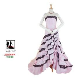 【送料無料】結婚式ドレス ネックレス・イヤリング付きクラレナの ピンクに黒レースマーメイド カラードレス7号(CLC4383)【中古】(USED品)(リサイクル)【洋装】【ドレス】【cd7】【cd9】