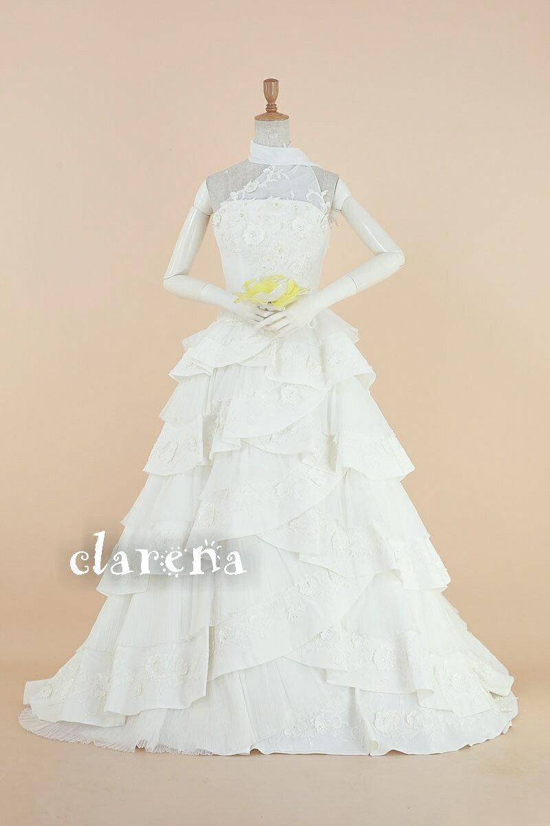 [送料無料]装飾ネックショール付きウエディングドレス 7-11号(MS514)【中古】(USED品)(リサイクル)中古ドレス