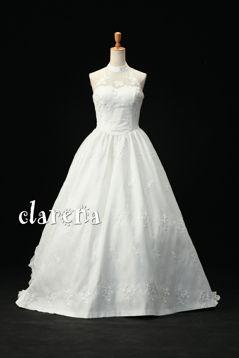 【送料無料】クリーニング済みオフホワイトに小花刺繍ウエディングドレス11号(MSD182)(USED品)(リサイクル)【中古】