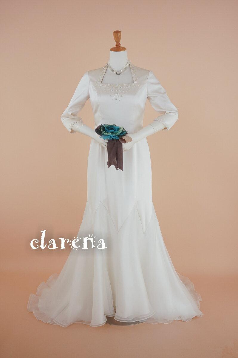 [送料無料] 結婚式 ステージ衣装 声楽アイボリーシルクにビーズ 七分袖 ウエディングドレス 11号(CLW1020)【中古】(USED品)(リサイクル)中古ドレス
