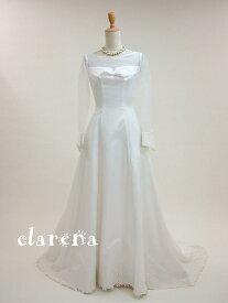 長袖カフス+リボンの未使用ウエディングドレス5号(clarena4)(未使用品)【洋装】【ドレス】