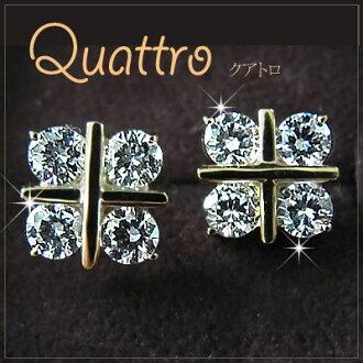 YG 10 K CZ 金刚石 (_ 立方氧化锆 _) 皮尔斯 «Quattro» _ 02P24Oct15