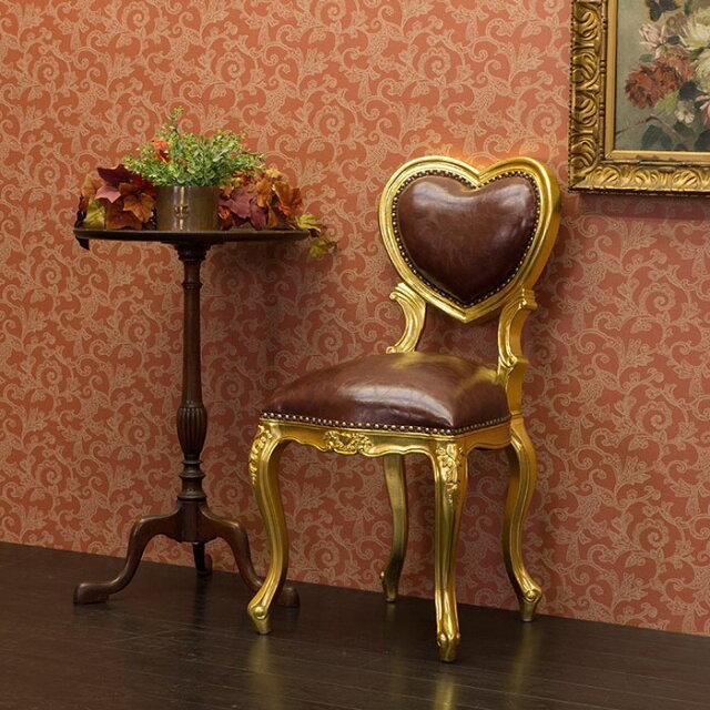 【猫脚ダイニングチェア】サイドチェアゴールドカラーインテリアイタリア風食卓椅子ロココ調家具kawaii合皮ハートチェア6087-S-10PU56