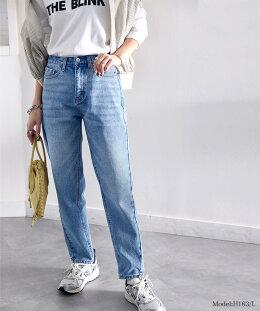 ハイウエストテーパードデニムトレンドスタイルが叶うこなれた1本。レディースジーンズデニムテーパードテーパードデニムジーパンヴィンテージ風デニムボーイズストレートボトムス韓国ファッションelf018