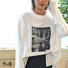 メール便 送料無料 ロンt レディース 長袖 tシャツ ポケット付き プリントtシャツ ロング ビッグシルエット フォトt フォトプリント カットソー 裾スリット 大人 トップス カジュアル プリント インナー cl8011