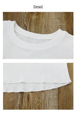 メール便送料無料ワッフル生地カットソーレディースおしゃれ半袖大きいサイズフレンチスリーブtシャツサーマルベーシックトップスノースリーブuネッククルーネック体型カバーゆったりLXLプルオーバーきれいめctl005夏