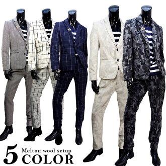 上部和下部套量身定做的安裝男式羊毛夾克夾克底迷彩偽裝與檢查下來她大集的銷售秋天冬天婚禮方大小 XL