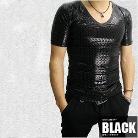 【在庫処分SALE】現品限り!Luxury Black(ラグジュアリーブラック)シャイニー加工VネックTシャツ/全3色お兄系 ダンス スポーツ 衣装 伸縮 ホスト 半袖Tシャツ キレイめ ブラック 新作 メンズ