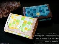 折り財布レディースClelia-u-クレリアユー二つ折りフラップかぶせステンドグラスエナメル本革レザー日本製CLU-002
