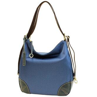 来夢(LIME  L1717-30)【Navy】Cowhide Leather & Nylon 3-way shoulder bag 【pure made in japan】Leather & Nylon Hand Bag【Ladies women】