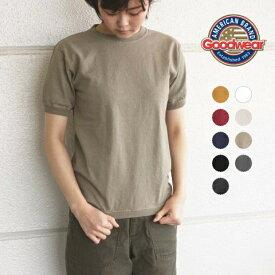 S-XL♪ グッドウェア リブ クルーネック Tシャツ 無地 半袖 レディース メンズ ngt9801 GOODWEAR[ネコポス]