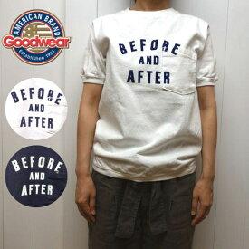 グッドウェア リブ クルーネック ポケット付き ロゴプリント Tシャツ 半袖 レディース メンズ GOODWEAR[ネコポス]
